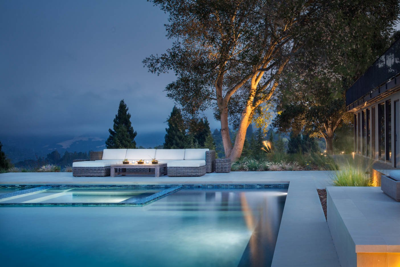 Outdoor, Back Yard, Trees, Shrubs, Hardscapes, Large Pools, Tubs, Shower, Large Patio, Porch, Deck, Grass, and Landscape Lighting  A pool with a view by Agnieszka Jakubowicz