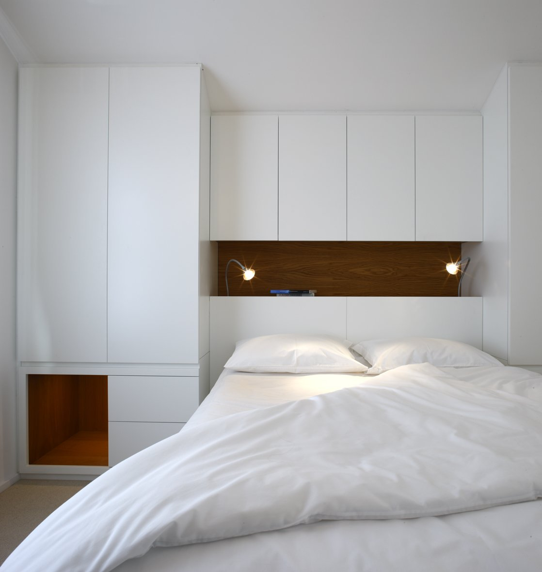 Bedroom, Bed, Wall Lighting, and Shelves  Elm Grove by Thompson + Baroni