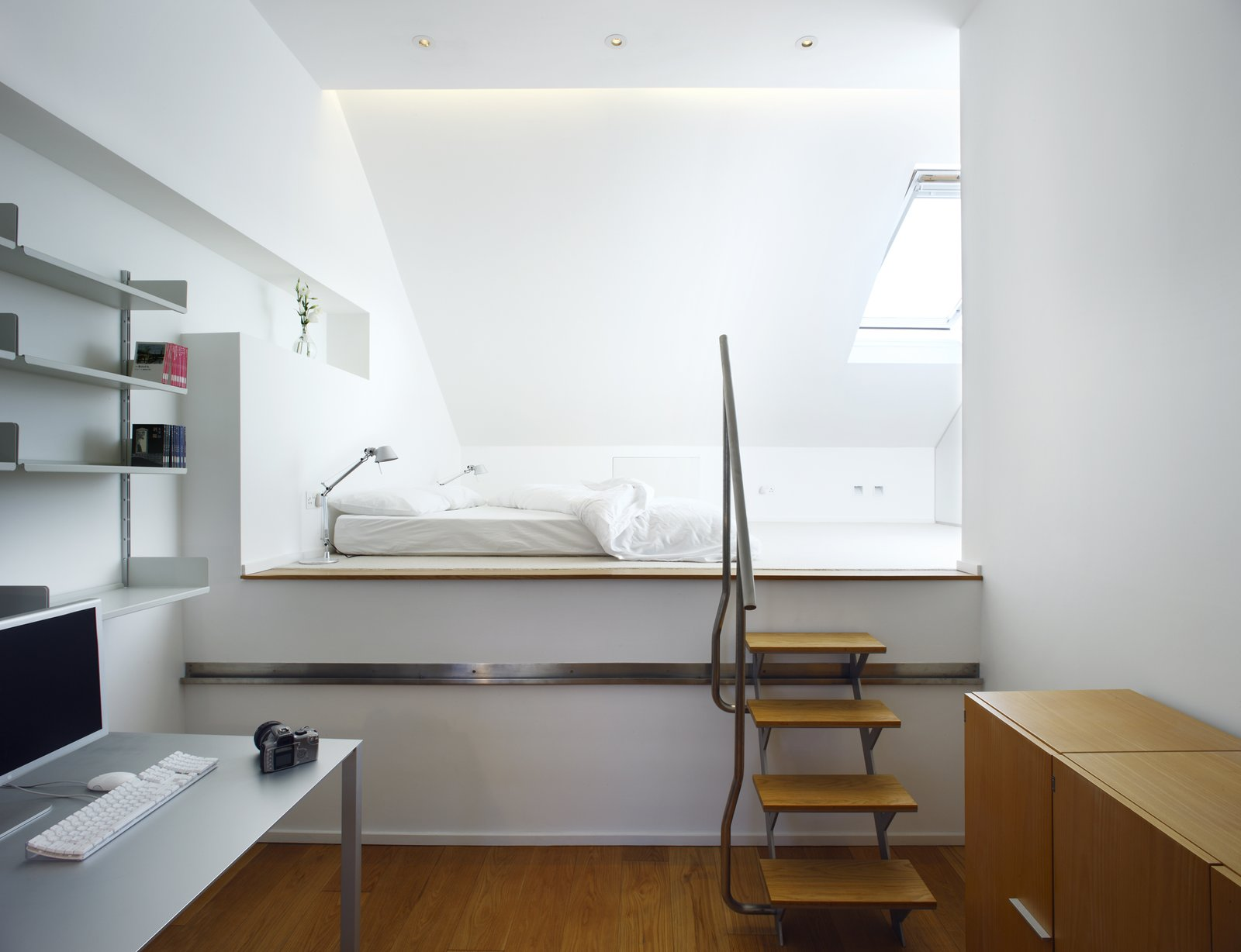 Bedroom, Bed, and Shelves  Elm Grove by Thompson + Baroni