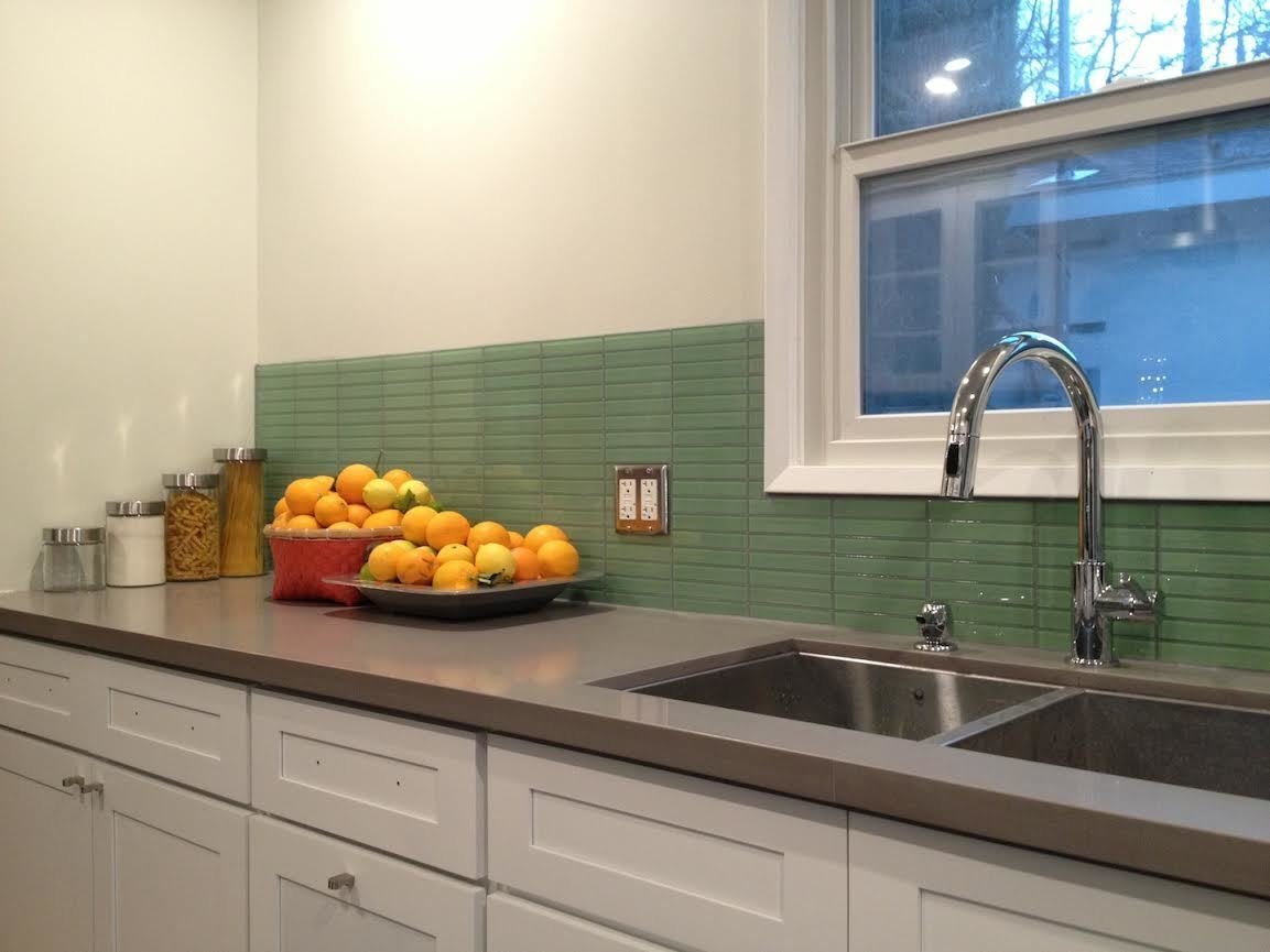 - Photo 1 Of 1 In California Residence: Retro Mint Green Glass Tile