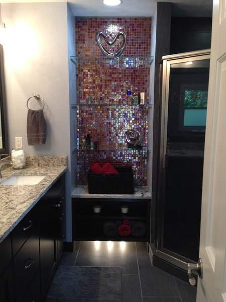 Red Iridescent Glass Tile Bathroom Accent Wall Modern Home In New On Dwell