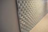 Modern home with Kitchen, Quartzite Counter, White Cabinet, Dark Hardwood Floor, Glass Tile Backsplashe, and Track Lighting. Photo 4 of Curved Milk Glass Tile Kitchen Backsplash
