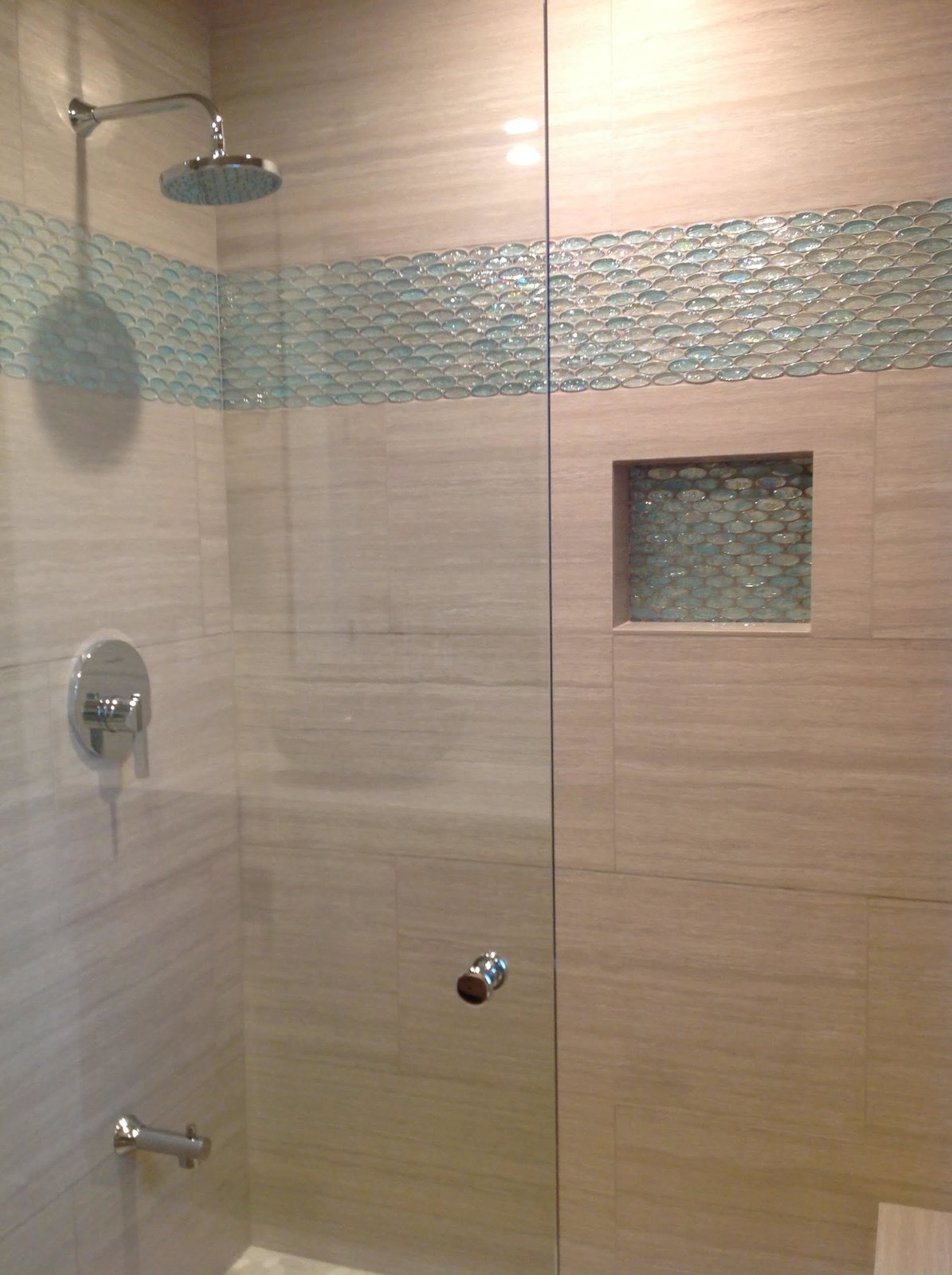 Aqua And Clear Oval Glass Tile Bathroom Accent Modern Home