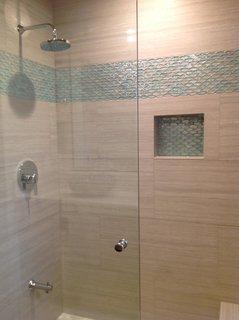 aqua and clear oval glass tile bathroom accent modern home