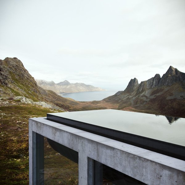 21 meter infinity pool on top of the house acts as a roof