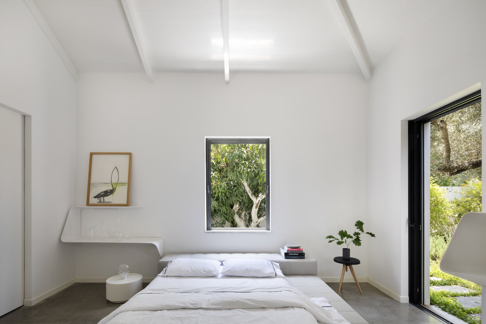 Bedroom, Shelves, Bed, Ceiling, and Limestone  Best Bedroom Ceiling Shelves Photos from A Modern Farm House
