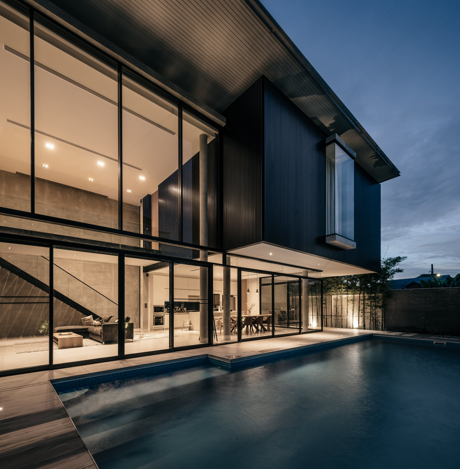 Outdoor, Large Pools, Tubs, Shower, Swimming Pools, Tubs, Shower, Small Pools, Tubs, Shower, Wood Patio, Porch, Deck, Horizontal Fences, Wall, and Landscape Lighting pool   bAAn by Anonym