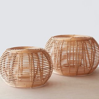 Java Rattan Ottomans