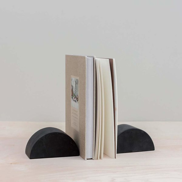 The Citizenry Puebla Marble Half Moon Bookend Set