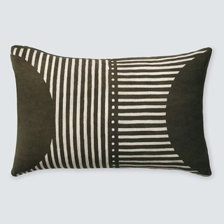 The Citizenry Demi Mud Cloth Lumbar Pillow - Olive