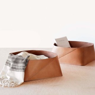 The Citizenry Azad Low Leather Storage Bin