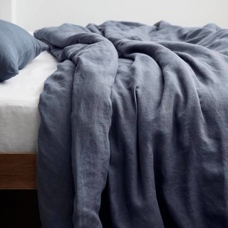 The Citizenry Stonewashed Linen Duvet Cover - Slate Blue