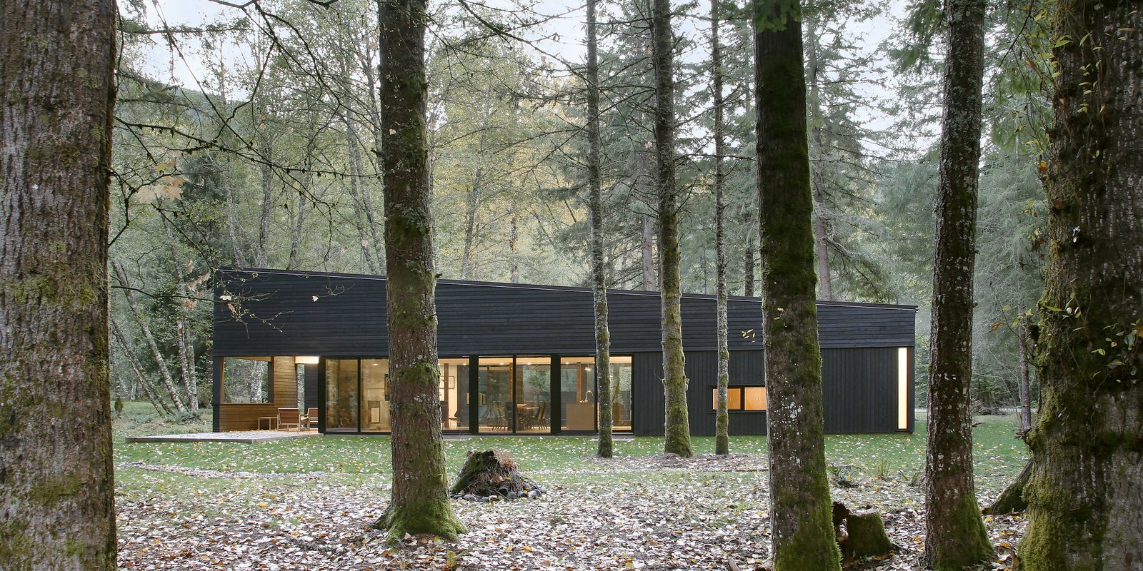 Outdoor and Woodland  Courtyard House on a River by Robert Hutchison Architecture