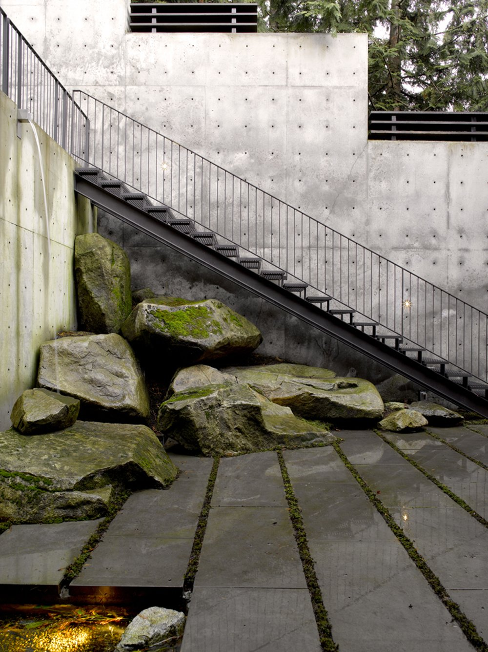 Outdoor, Hardscapes, Boulders, and Landscape Lighting  Courtyard House on a Steep Site by Robert Hutchison Architecture