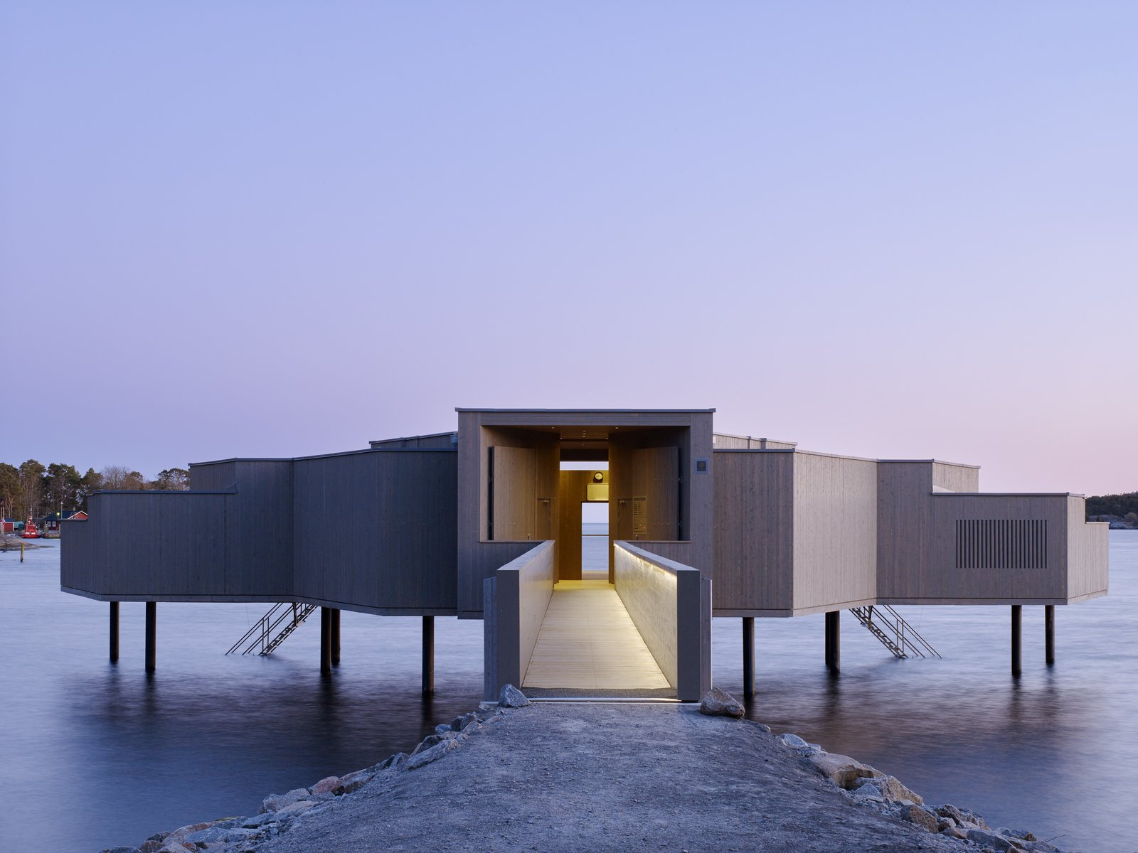 Exterior and Wood Siding Material  Photo 1 of 6 in A Swedish Coastal Town Commissions an Otherworldly Bathhouse