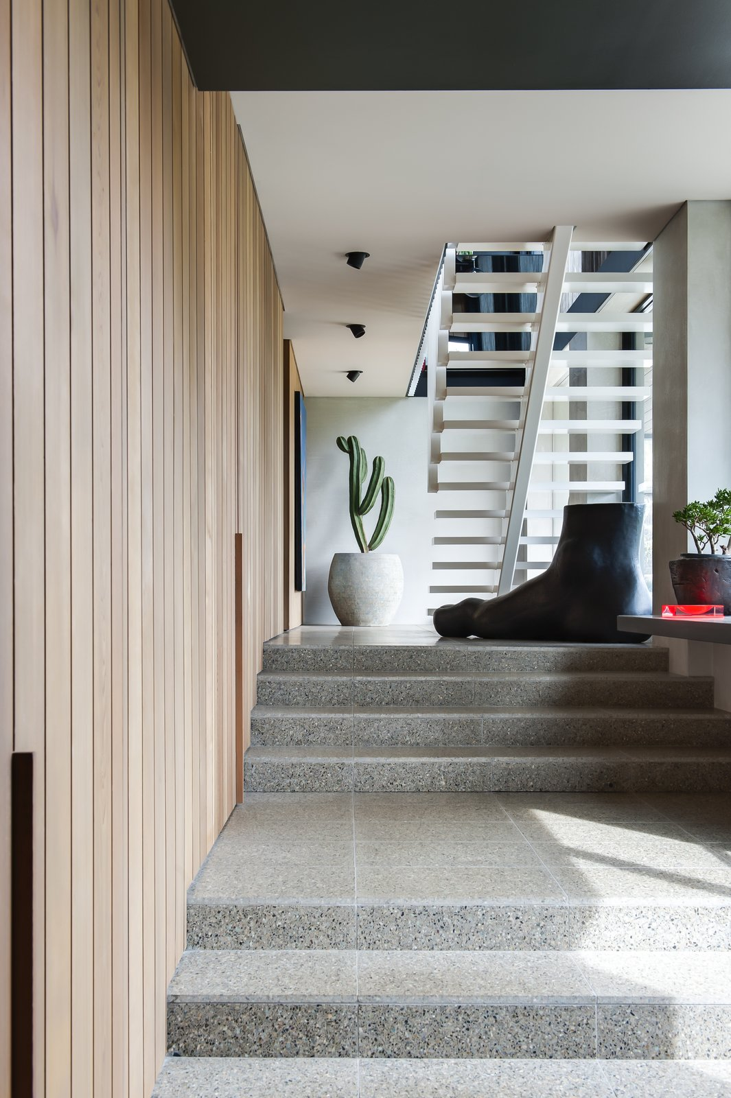 Staircase  Photo 5 of 7 in Unexpected Bursts of Color Enliven a Midcentury Pad in Australia