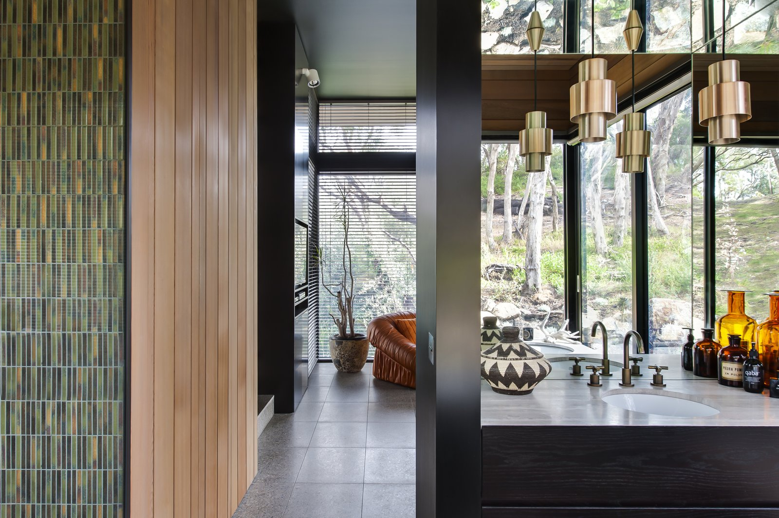 Bath Room, Drop In Sink, and Pendant Lighting  Photo 6 of 7 in Unexpected Bursts of Color Enliven a Midcentury Pad in Australia