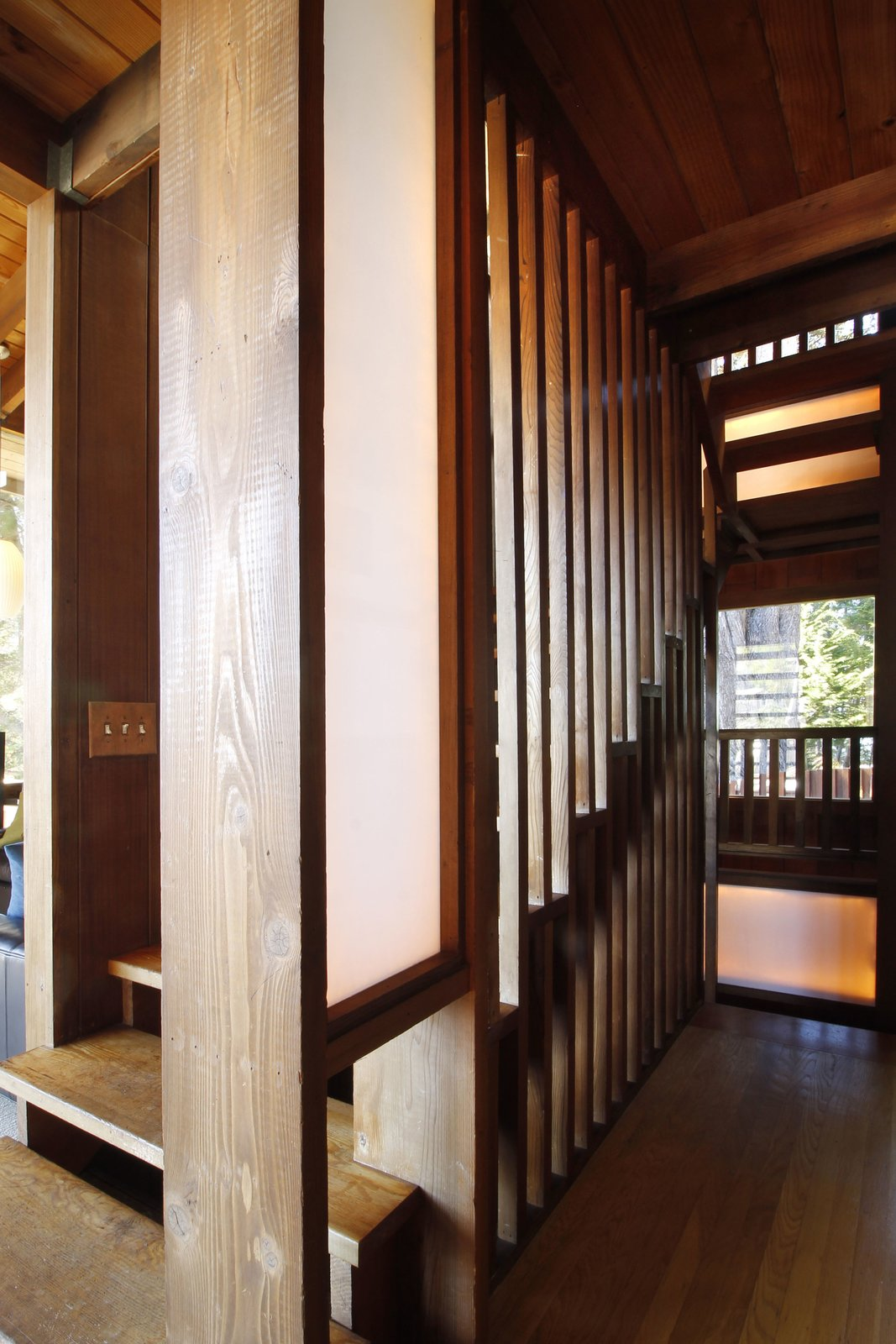 Staircase, Wood Railing, and Wood Tread  Photo 6 of 11 in A Perfectly Preserved Midcentury Pad in Northern California Asks $1.975M