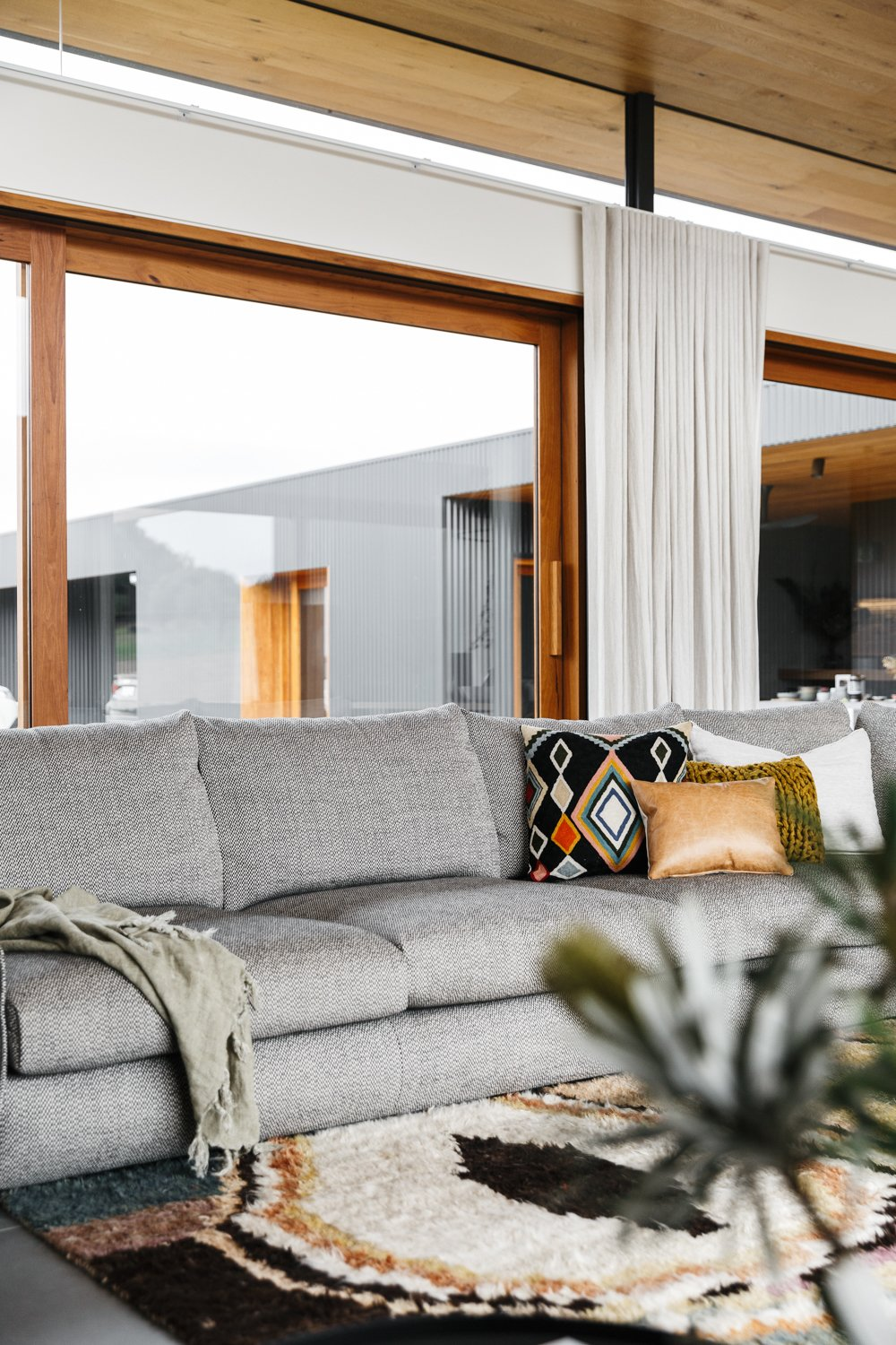 Living Room and Sofa  Photo 3 of 11 in The Surrounding Countryside Inspires a Family Home in Australia's Adelaide Hills