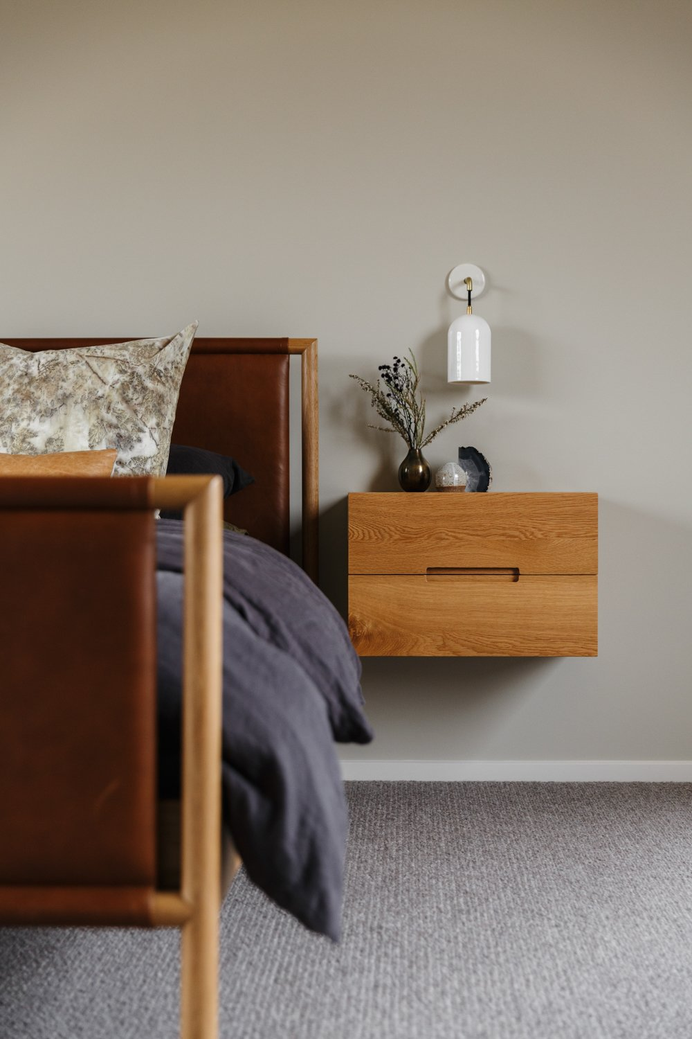 Bedroom, Bed, Night Stands, and Carpet Floor  Photo 8 of 11 in The Surrounding Countryside Inspires a Family Home in Australia's Adelaide Hills