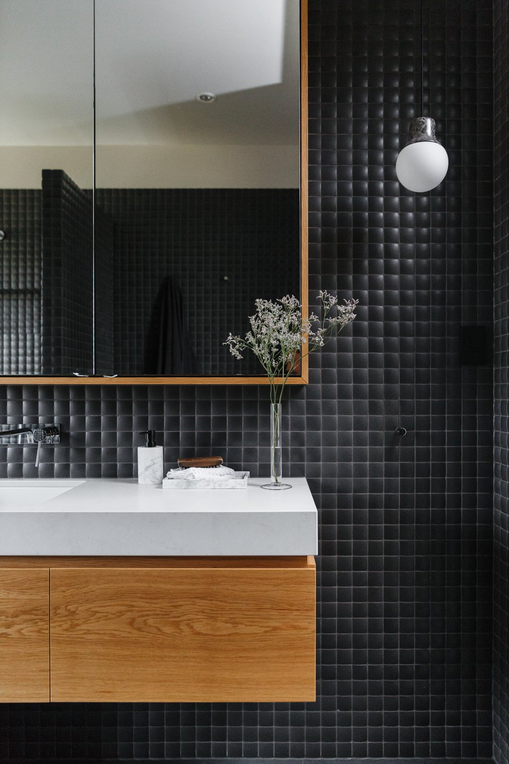 Bath Room, Ceramic Tile Wall, Wall Lighting, and Wall Mount Sink  Photo 10 of 11 in The Surrounding Countryside Inspires a Family Home in Australia's Adelaide Hills