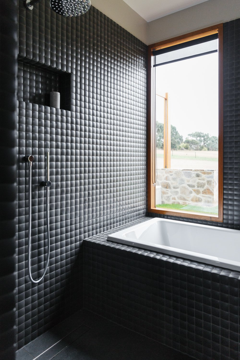 Bath Room, Drop In Tub, Open Shower, and Ceramic Tile Wall  Photo 9 of 11 in The Surrounding Countryside Inspires a Family Home in Australia's Adelaide Hills