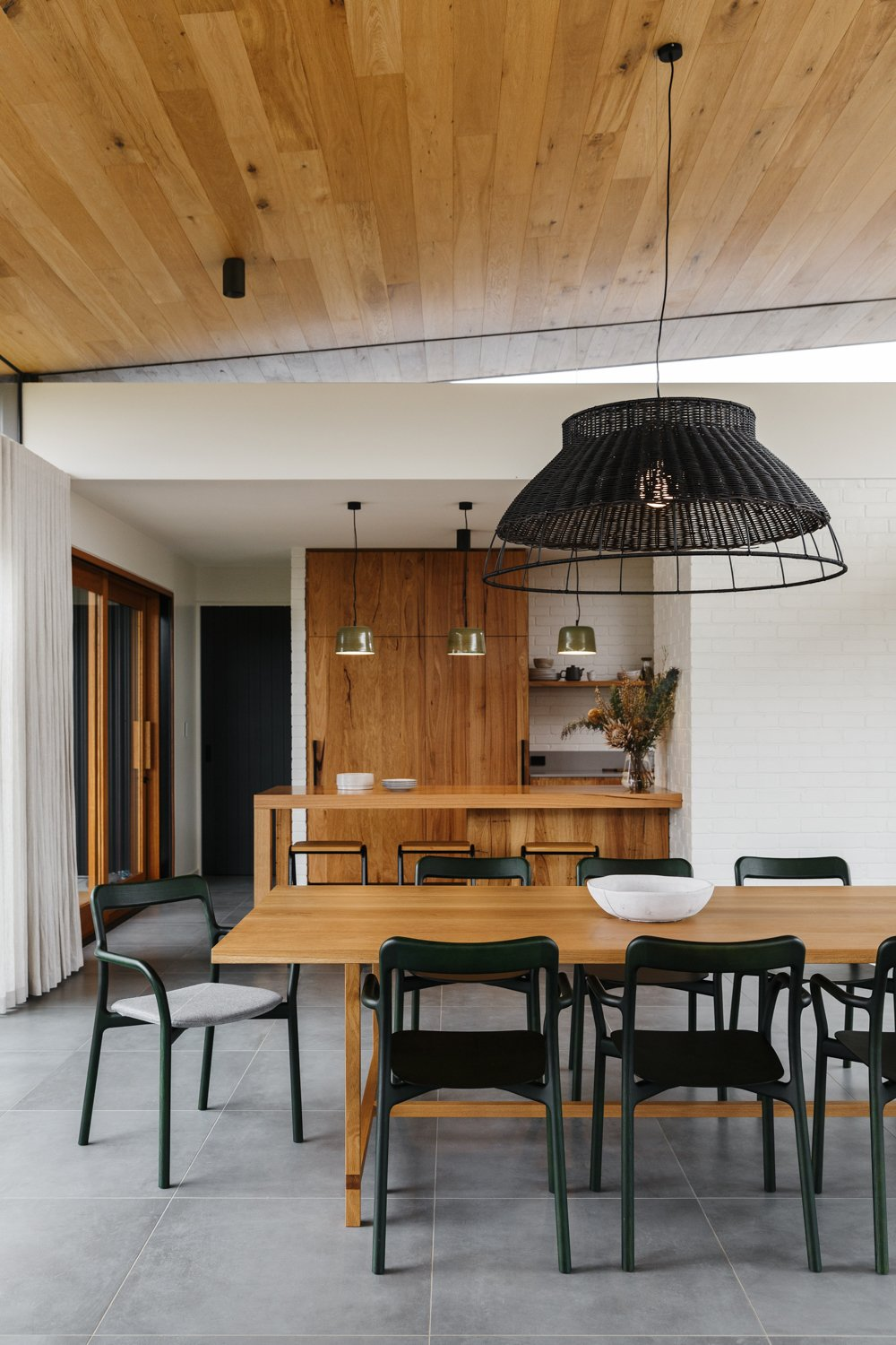 Dining Room, Pendant Lighting, Chair, and Table  Photo 4 of 11 in The Surrounding Countryside Inspires a Family Home in Australia's Adelaide Hills