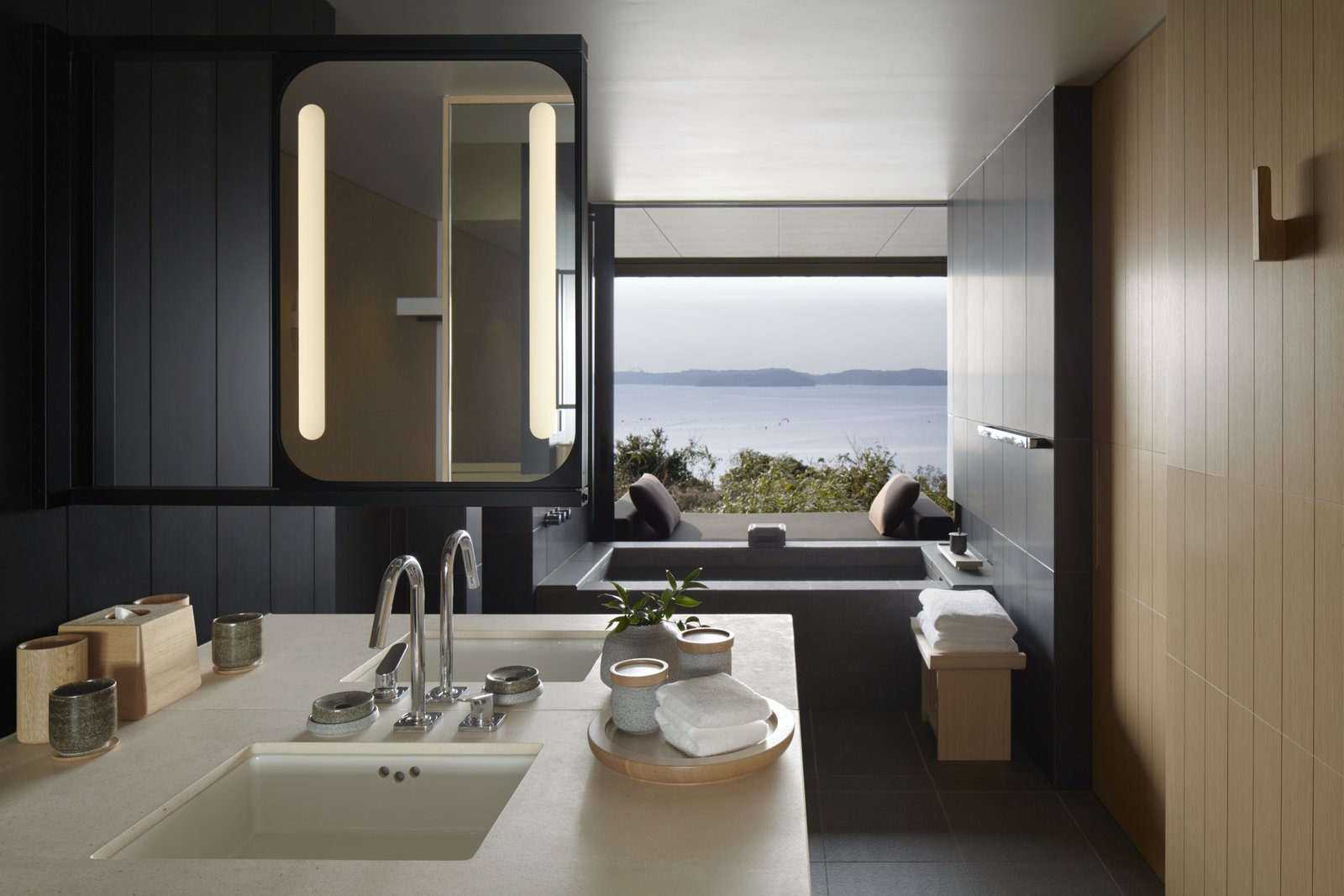 Bath, Drop In, Wall, and Undermount  Best Bath Wall Drop In Photos from A Sleek Resort in a Japanese National Park Reinterprets Tradition