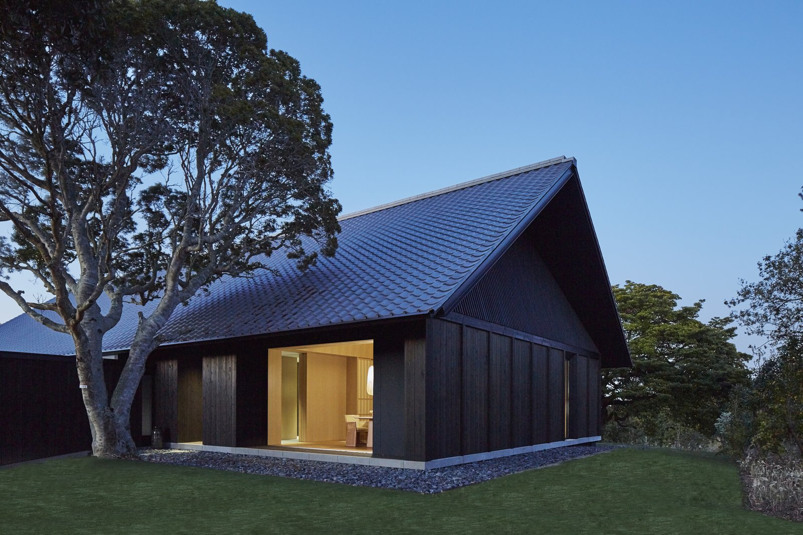 Exterior, House Building Type, Tile Roof Material, and Wood Siding Material  Photo 2 of 10 in A Sleek Resort in a Japanese National Park Reinterprets Tradition