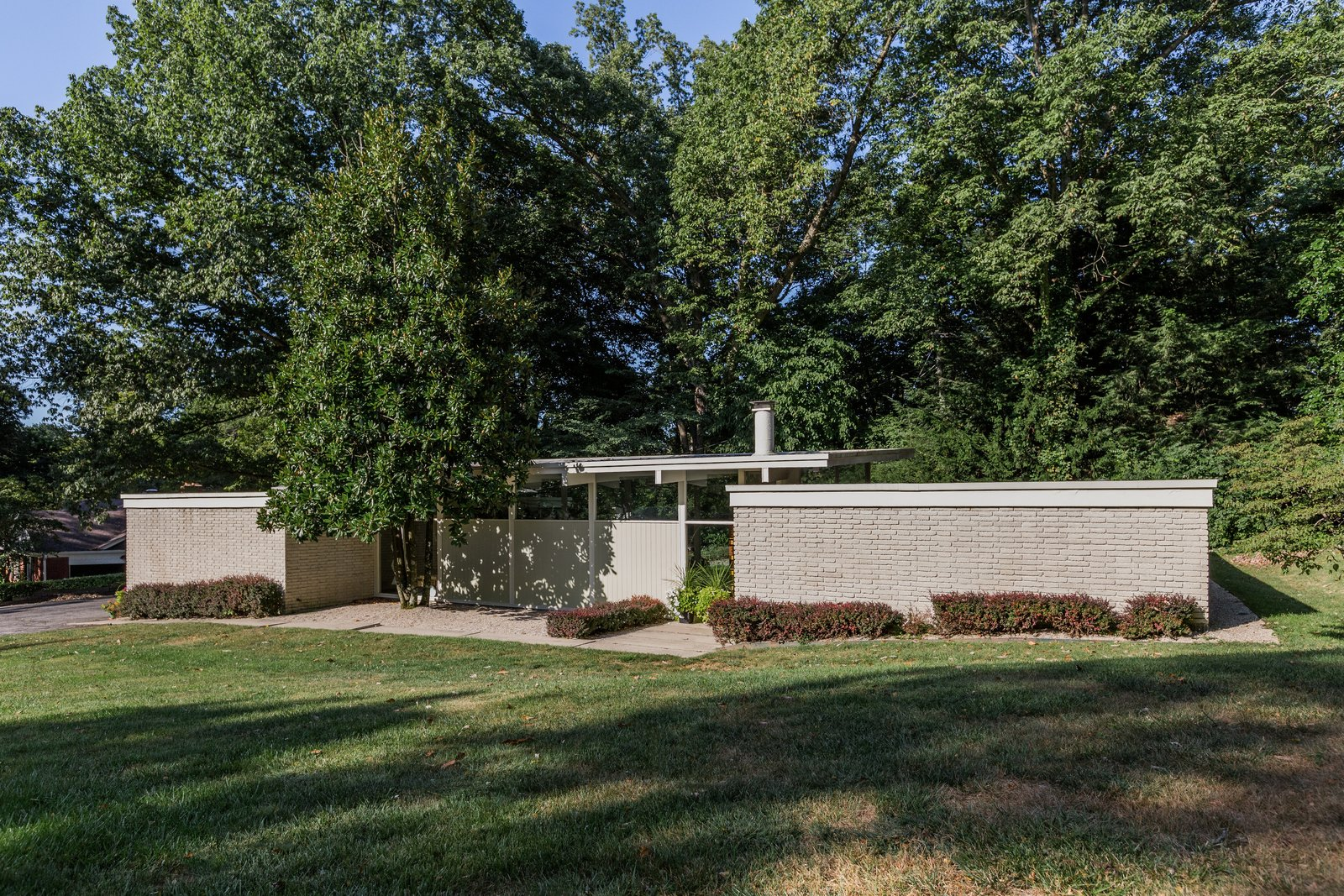 Exterior, House Building Type, and Brick Siding Material  Photo 1 of 10 in A Midcentury Gem by a Famed Indiana Architect Offered at $450K