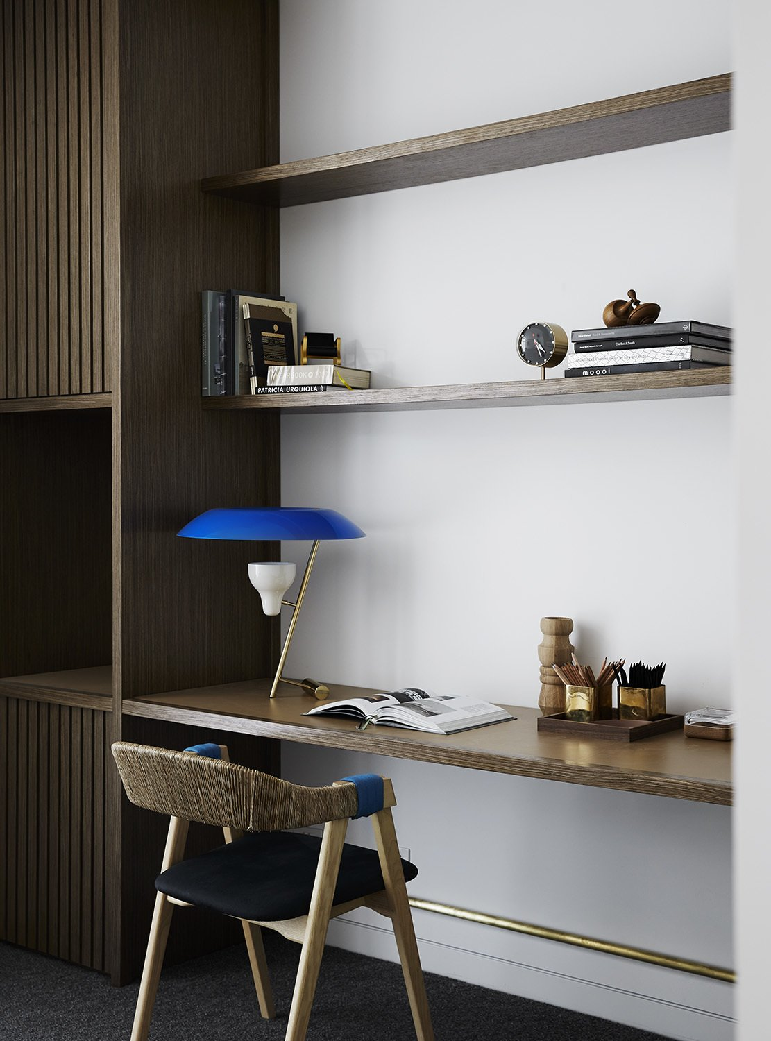 Office, Chair, Study Room Type, Library Room Type, Desk, Lamps, and Shelves  Photo 13 of 13 in A Melbourne Midcentury Gets a Palm Springs-Inspired Revival