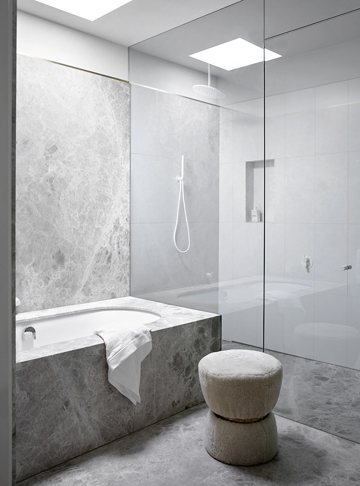 Bath Room, Undermount Tub, Enclosed Shower, and Marble Wall  Photo 11 of 13 in A Melbourne Midcentury Gets a Palm Springs-Inspired Revival
