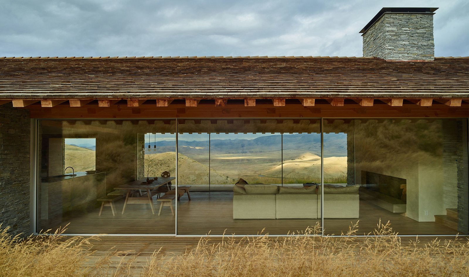 Windows, Metal, and Sliding  Best Windows Metal Sliding Photos from This Modern Stone Cabin Looks Like It Belongs in Middle-Earth