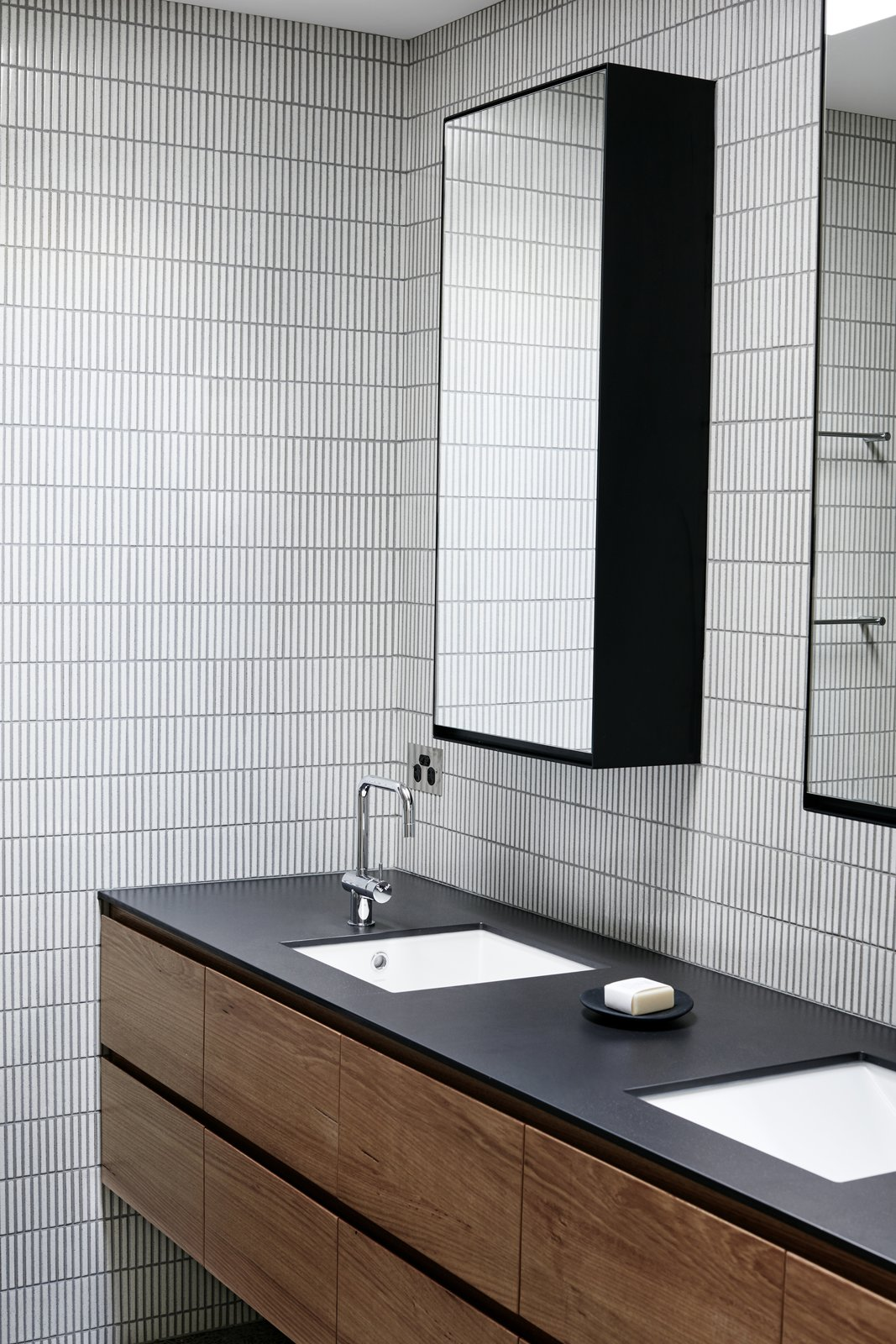 Bath Room, Ceramic Tile Wall, and Undermount Sink  Photo 6 of 9 in Recycled Wood Stars in an Ogle-Worthy Renovation in Australia