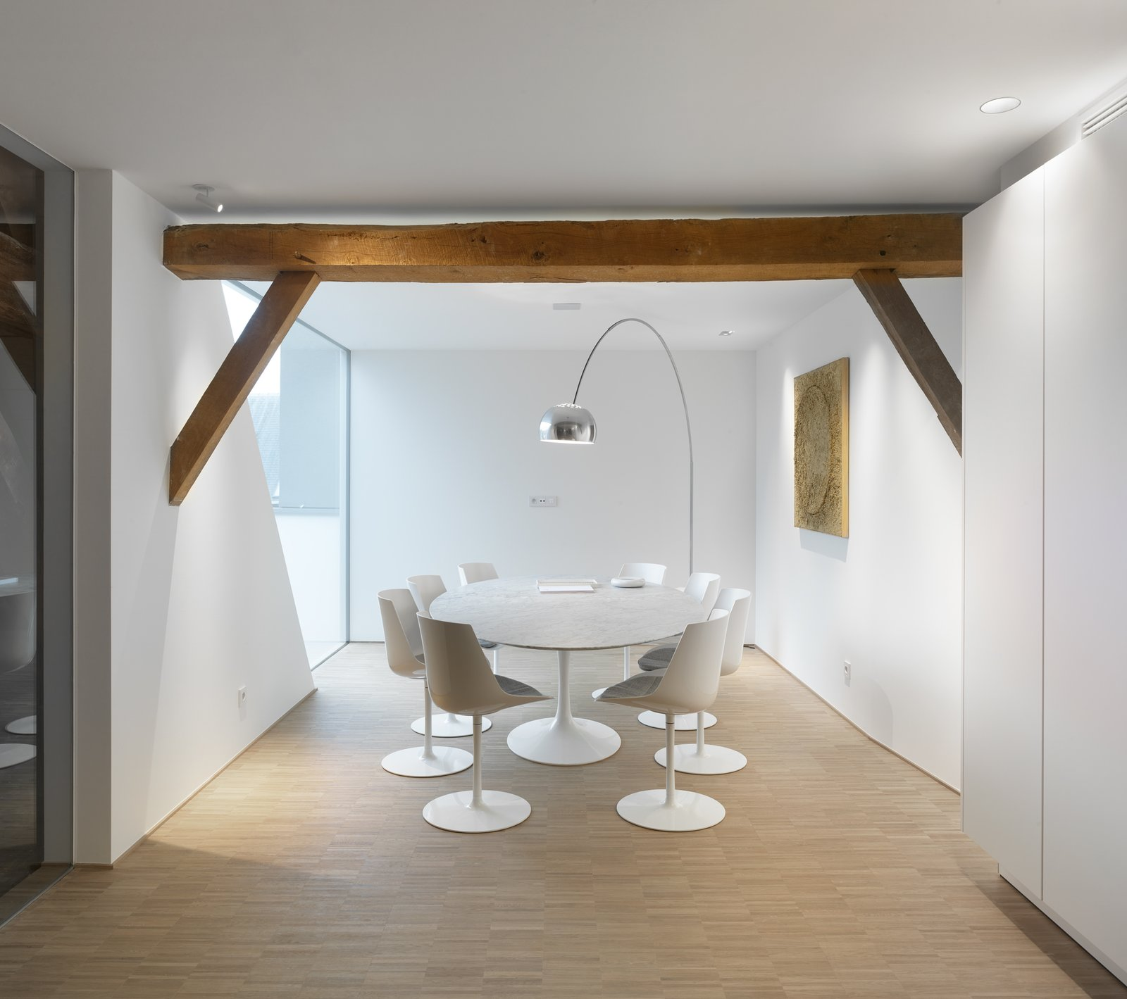 Office, Medium Hardwood Floor, Chair, and Desk  Photo 7 of 8 in This Chapel-Turned-Office in Belgium Is Unbelievably Cool