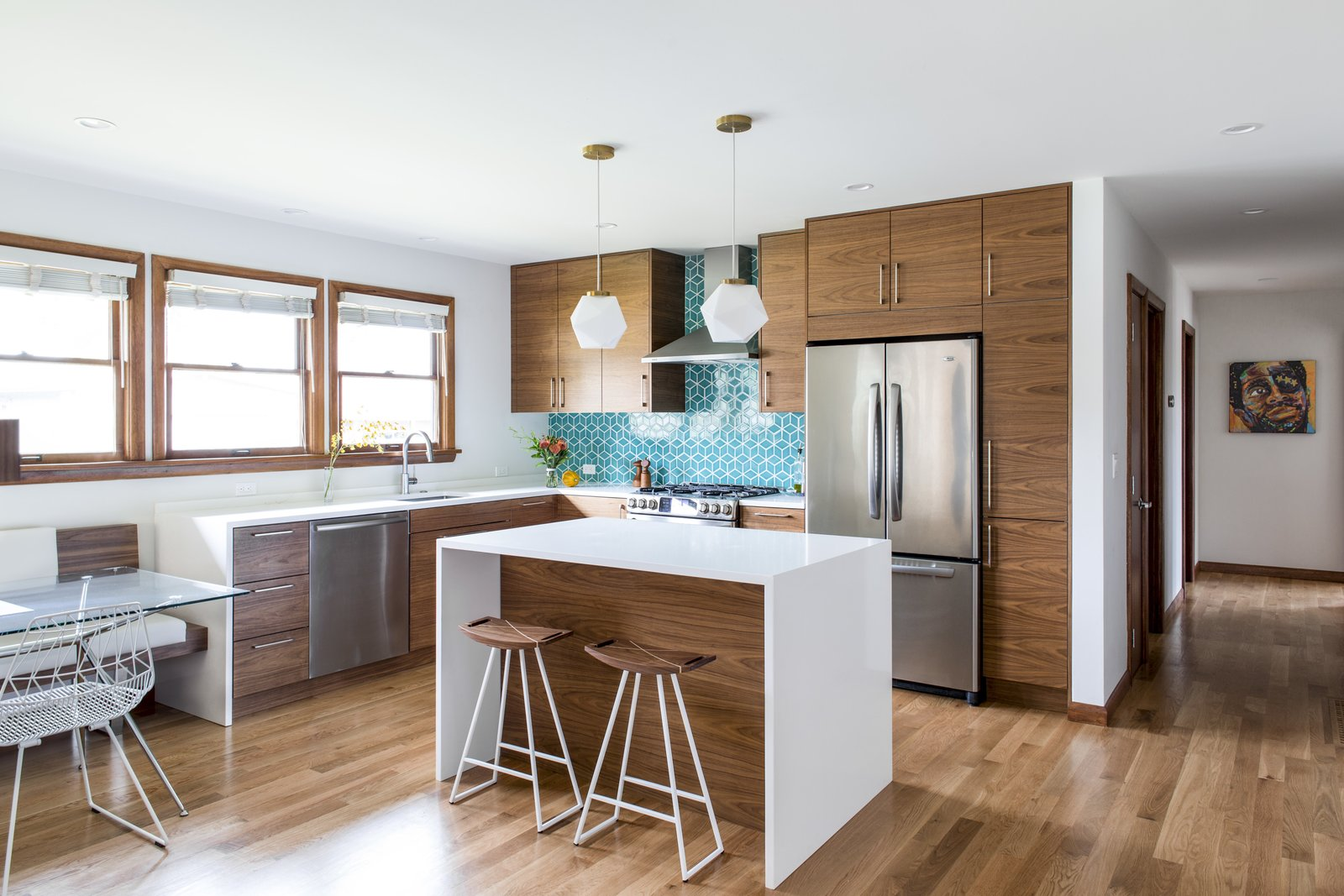 Kitchen, Refrigerator, Undermount, Recessed, Pendant, Ceramic Tile, Dishwasher, Medium Hardwood, Wood, Range, and Range Hood  Best Kitchen Wood Refrigerator Dishwasher Ceramic Tile Undermount Photos from What's the Most Overlooked Feature When Planning a Kitchen Renovation?