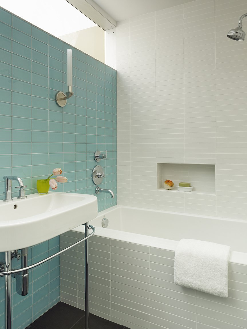 Bath, Wall, Pedestal, Subway Tile, Porcelain Tile, and Drop In  Bath Drop In Wall Porcelain Tile Photos from What's the Best Way to Save Space in a Small Bathroom?