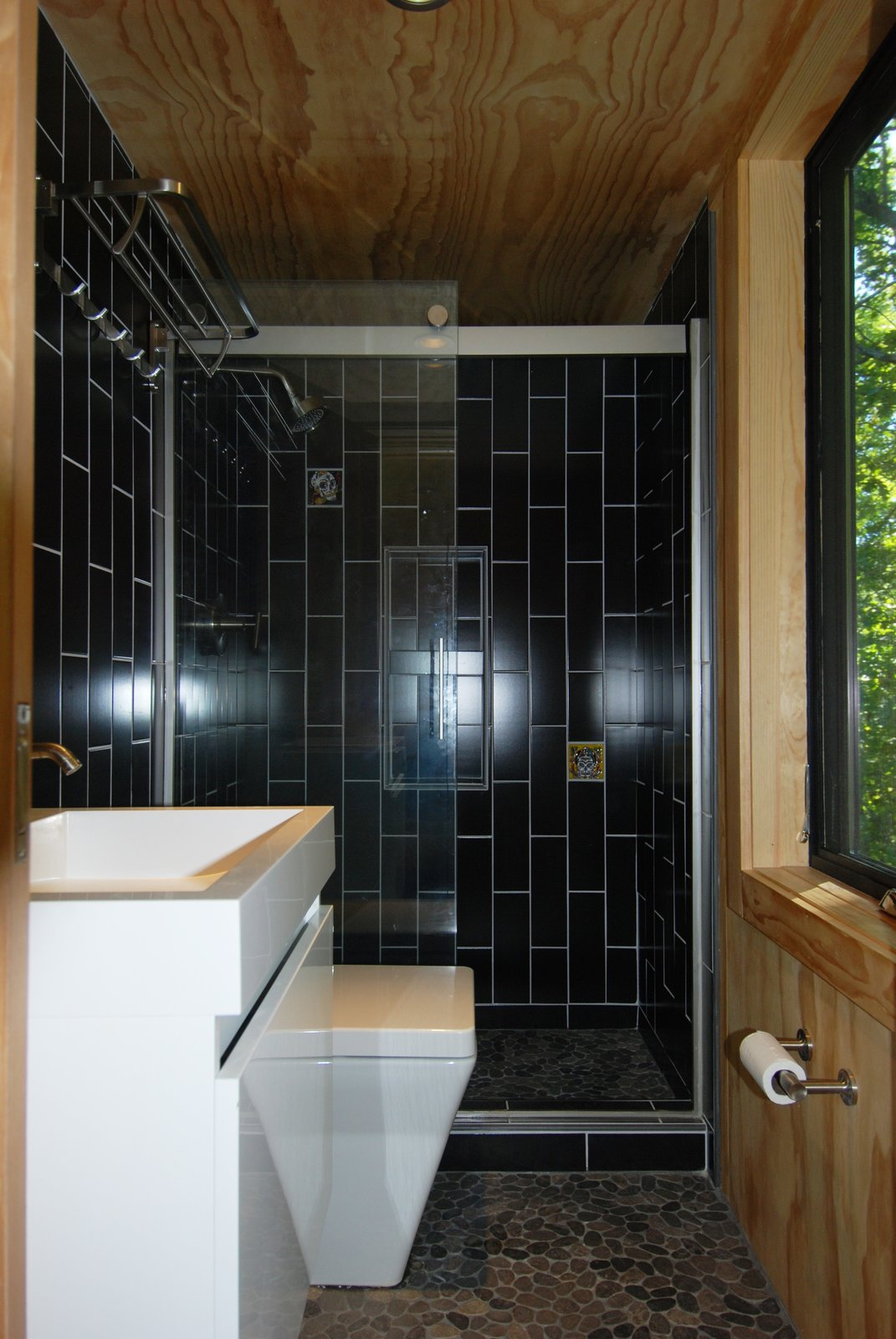 Bath Room, Enclosed Shower, Vessel Sink, and Subway Tile Wall  Photo 15 of 15 in What's the Best Way to Save Space in a Small Bathroom?