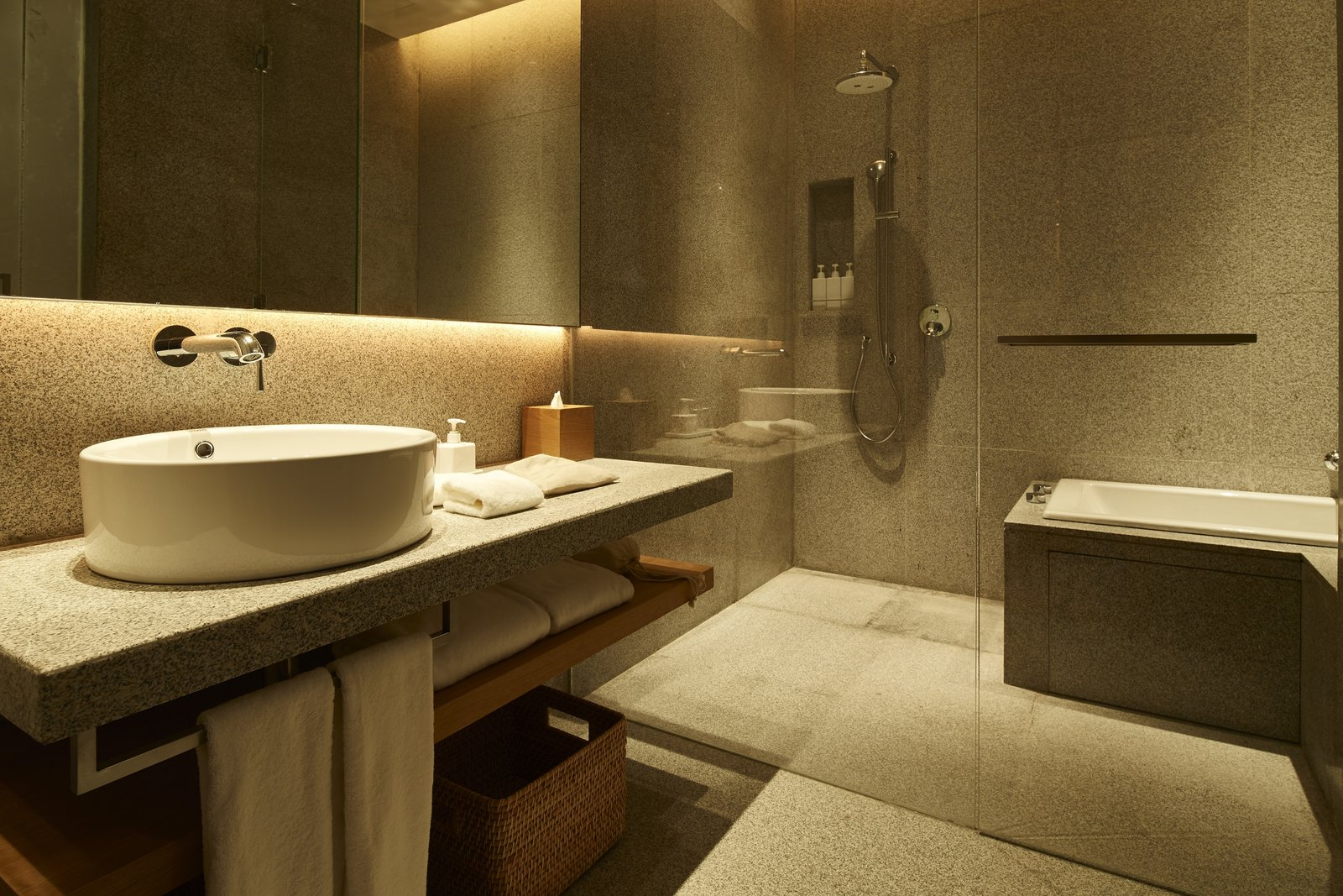 Bath Room, Alcove Tub, Full Shower, Corner Shower, Accent Lighting, and Vessel Sink  Photo 7 of 10 in Be the First to Stay in the New Muji Hotel in Shenzhen