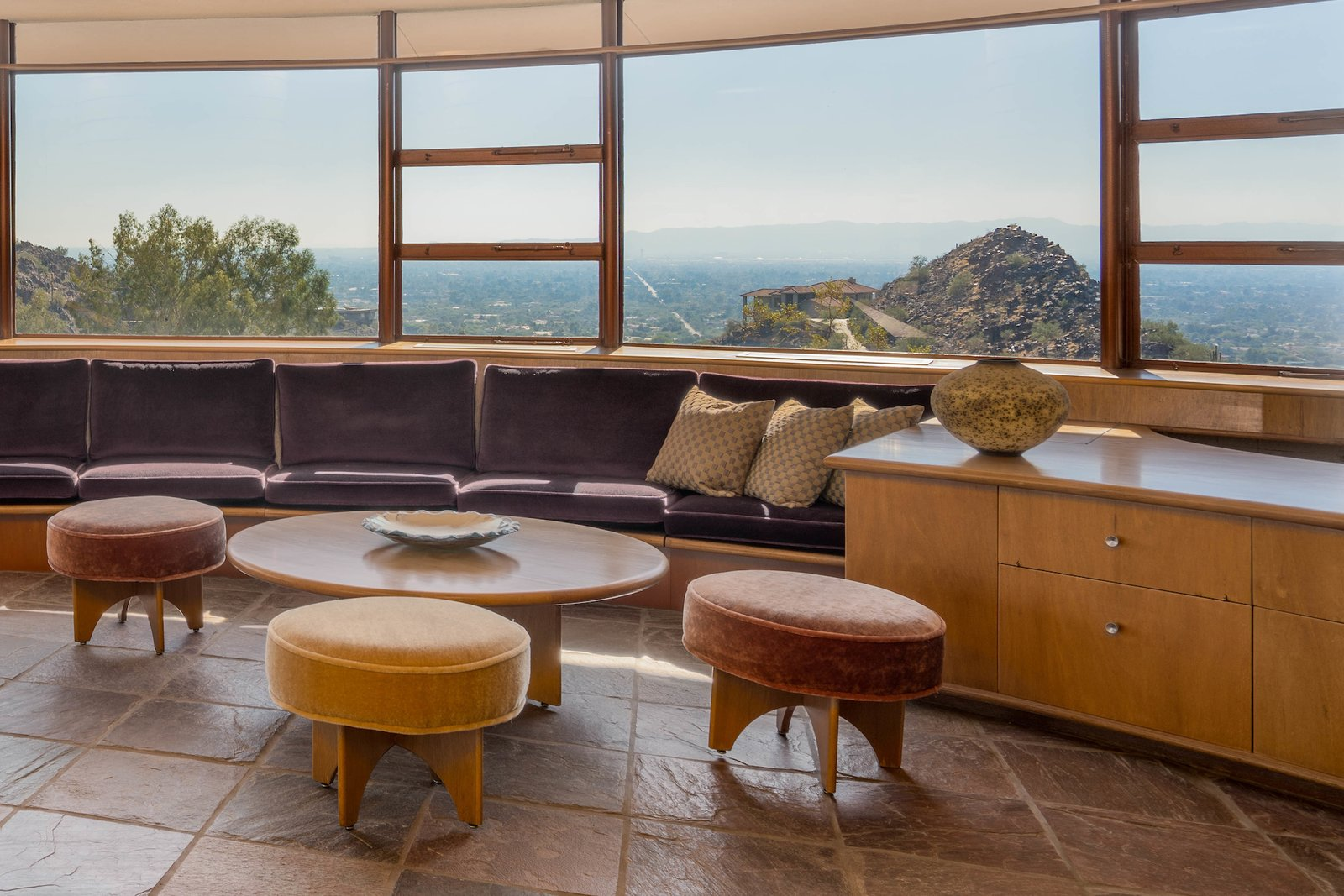 Living Room, Sofa, Coffee Tables, Storage, and Ottomans  Photo 6 of 15 in The Last House Designed by Frank Lloyd Wright Is Being Auctioned Without Reserve