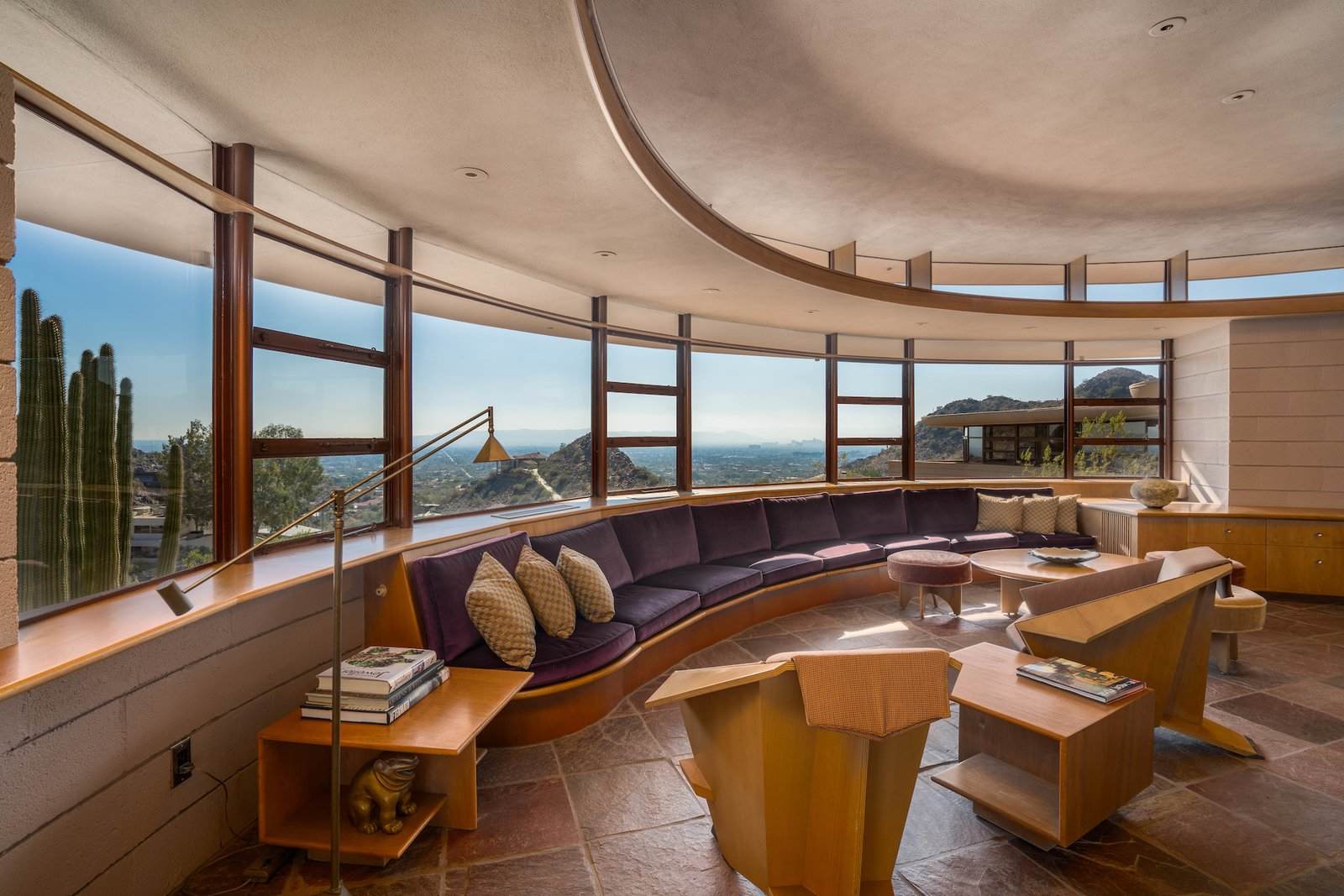 Living Room, Chair, Sofa, End Tables, Console Tables, Recessed Lighting, and Ottomans  Photo 5 of 15 in The Last House Designed by Frank Lloyd Wright Is Being Auctioned Without Reserve