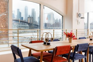 The space has stunning views of the Manhattan skyline.