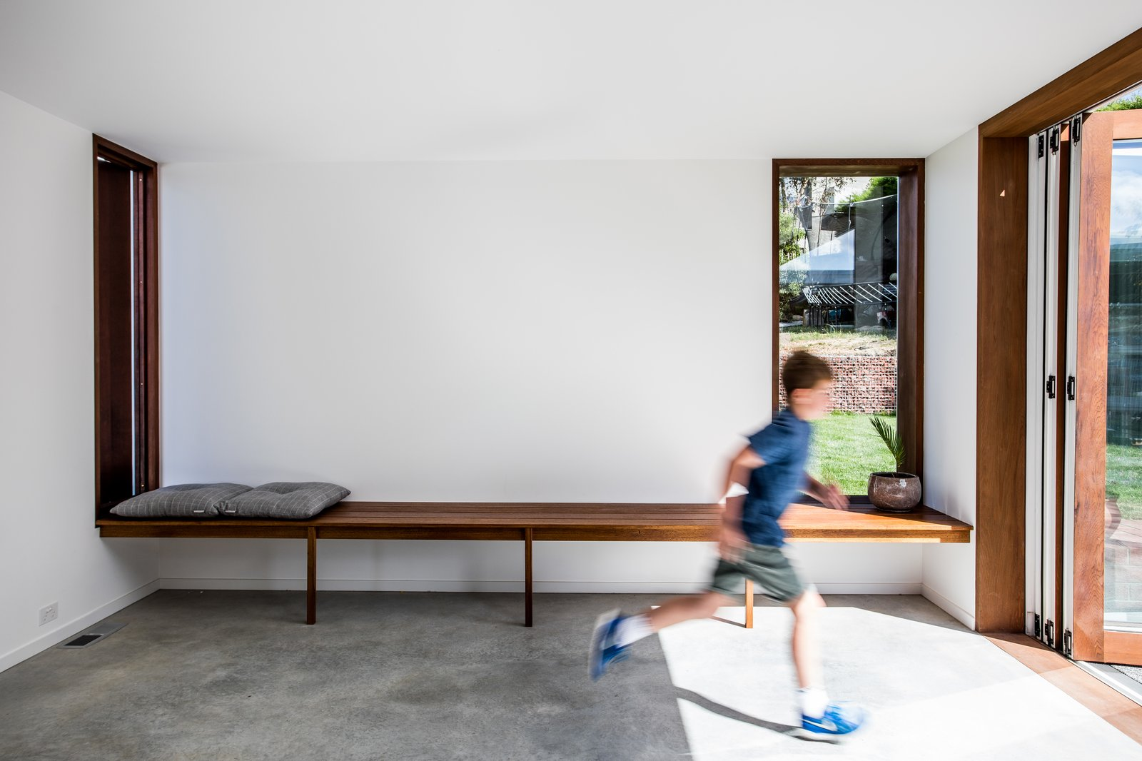 The homeowners have flexibility in how they can use the new living space. Right now, it can be a play room; years from now, an office or second living room.