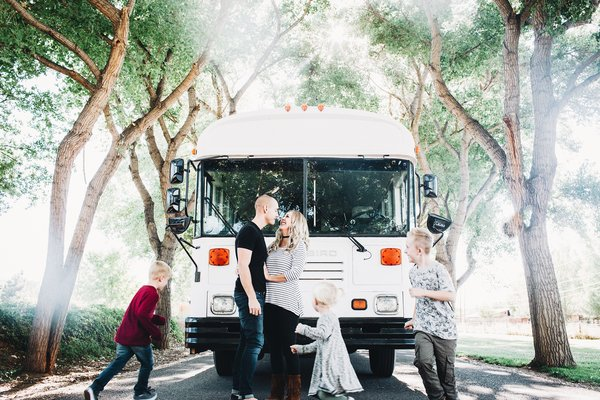 A 320-Square-Foot School Bus Becomes an Airy Abode For a Family of Five