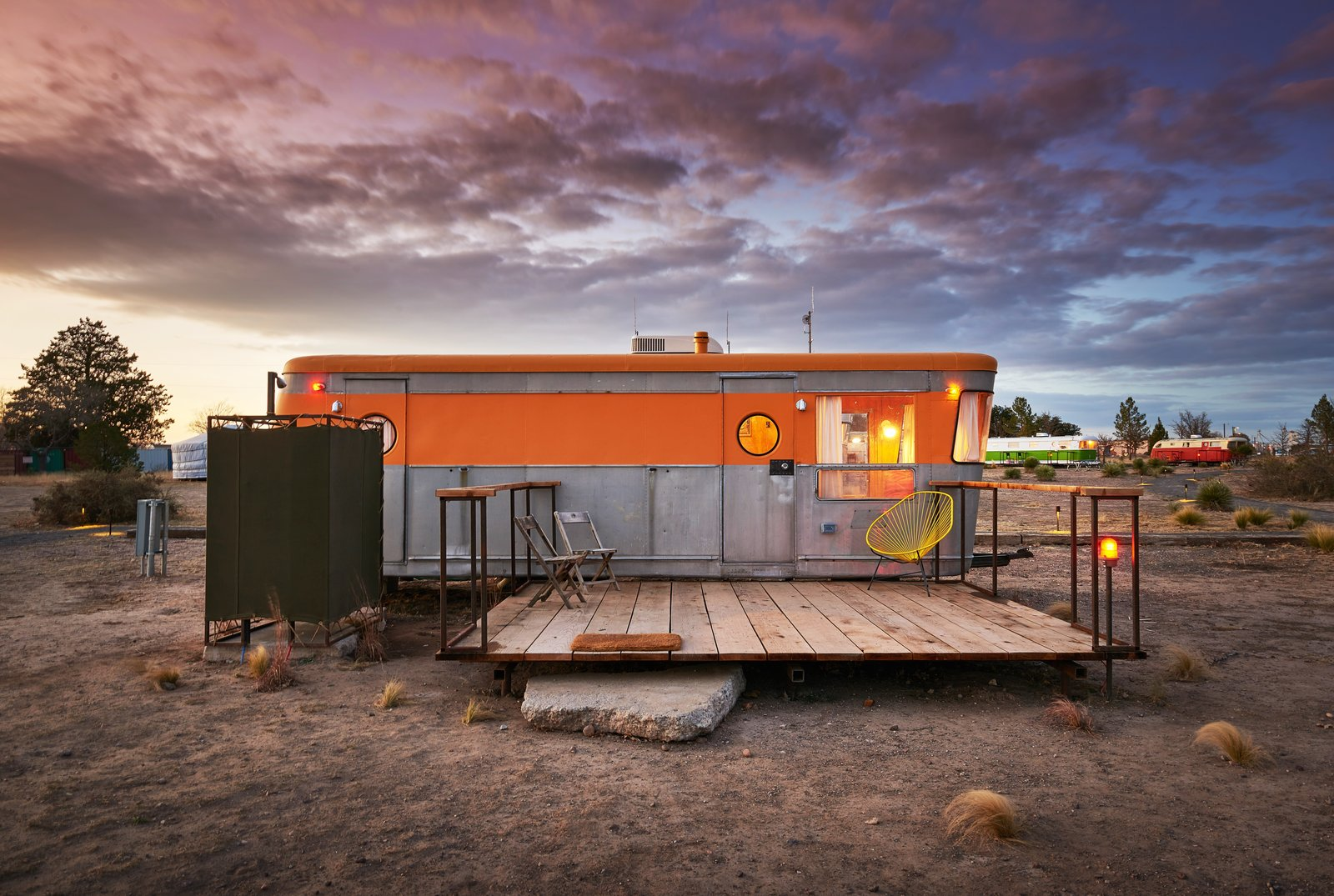 Exterior, Camper Building Type, Mid-Century Building Type, Metal Roof Material, and Metal Siding Material  Photo 1 of 12 in Let Your Creativity Soar at This Eclectic Hotel With Tents, Tepees, Yurts, and Trailers