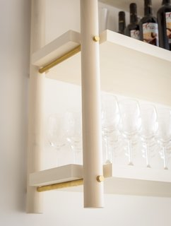 Bespoke shelves at Tusk, which was named for the Fleetwood Mac album.