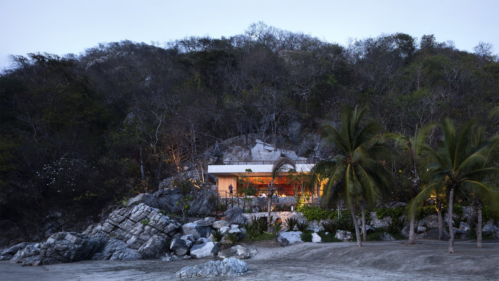 In Mexico, a Modern Palapa and Pool Are Carved Into a Rocky Slope