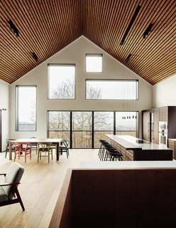 """The ceilings in the great room are almost 23 feet high, and """"the lot provides magnificent views over the entire city of Oslo in different directions,"""" said Taugbøl, which the firm made sure to capture with the window placement."""