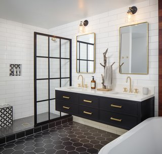 """""""Deliberate and intentional material placement was imperative to make this high contrast bathroom balanced,"""" said Maggio. """"Given that there was not much textural contrast, tile shape helped bring interest to the finishes."""""""