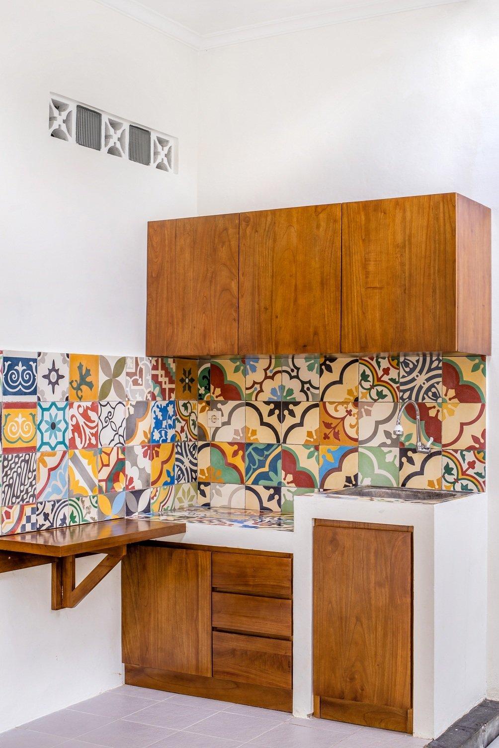 Kitchen, Tile, Wood, Ceramic Tile, Ceramic Tile, Concrete, Dishwasher, Ceiling, Range Hood, and Drop In  Best Kitchen Tile Wood Photos from Prawirotaman Street